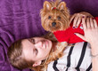 Beautiful young girl playing with her yorkshire terrier at home laying down
